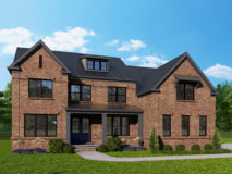 elevation 350B - a modern colonial in red brick with dark windows