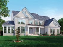 An optional elevation for the Hampton II model with double reverse gable and half porch, shown with optional sunroom