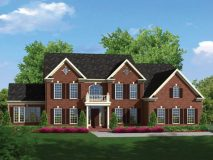 An optional brick elevation for the Clifton model with dual gables and portico, shown with sunroom and side load garage