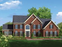 An optional brick elevation for the Monticello model home with double reverse gable, shown with optional sunroom and three car side load garage