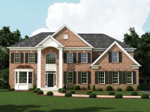 An alternate brick elevation for the Lexington model with hip roof and bay window