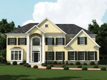 An optional stucco and stone elevation for the Lexington model home, shown hear in yellow stuco with grey stone