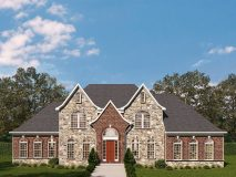 An optional stone and brick elevation with hip roof for the McLean model home.