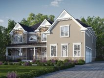An option stucco and stone elevation with a full porch for the Potomac model home.