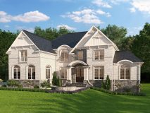 An elegant optional brick and stone elevation for the Potomac model home