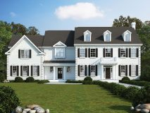 The standard elevation for the Avenel model home in white brick, with portico and pedestrian door