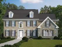 Standard brick elevation for the Clifton model, shown with optional stone on garage face