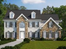 An optional elevation of stone and siding for the Clifton model home