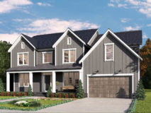 A brown farmhouse style elevation for the Clifton model home