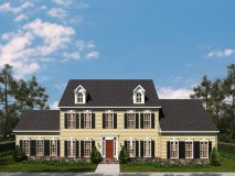 The standard elevation for the McLean model home in yellow siding w/ red door