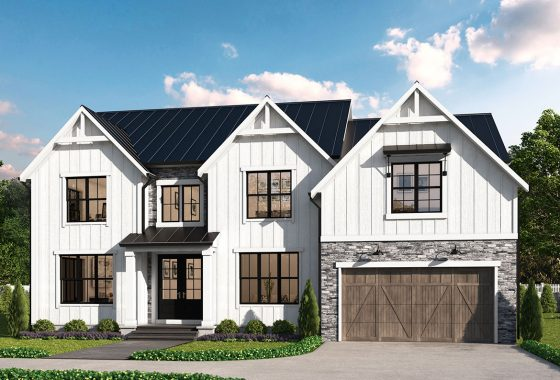 The Hampton model with optional farmhouse style elevation of white board and baten, stone, portico and dual gables