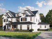 A beautiful detailed craftsman style elevation for the Hampton II model home, with dual double revers gables, shown with optional side in-law suite