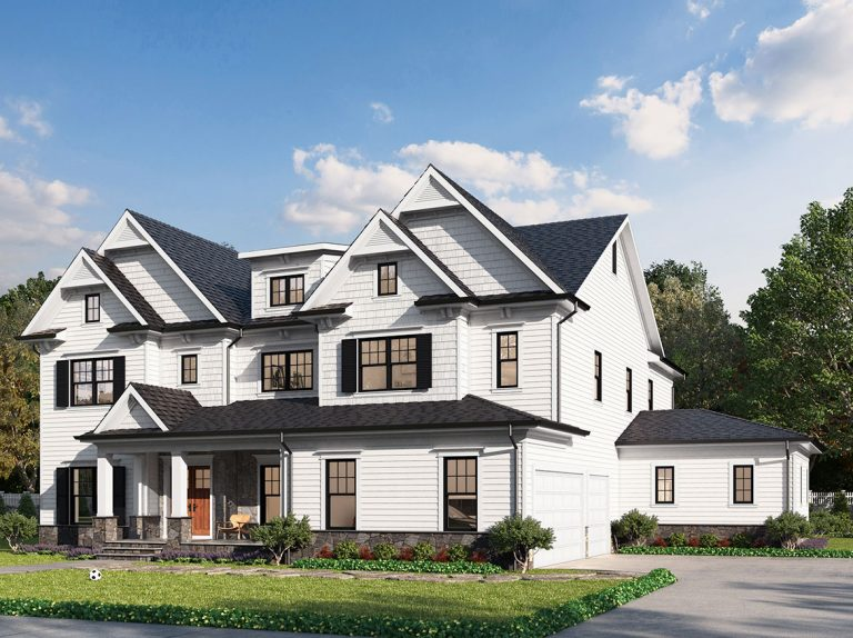 A craftsman style elevation for the Hampton II model home, with dual double reverse gables, partial front porch, and optional side in law suite