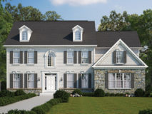 Standard elevation for the Kingsmill model home, shown with optional side load garage.