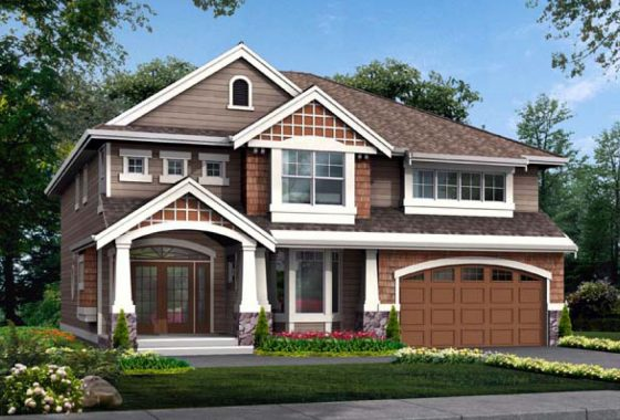 The standard elevation for the Mayberry model home.