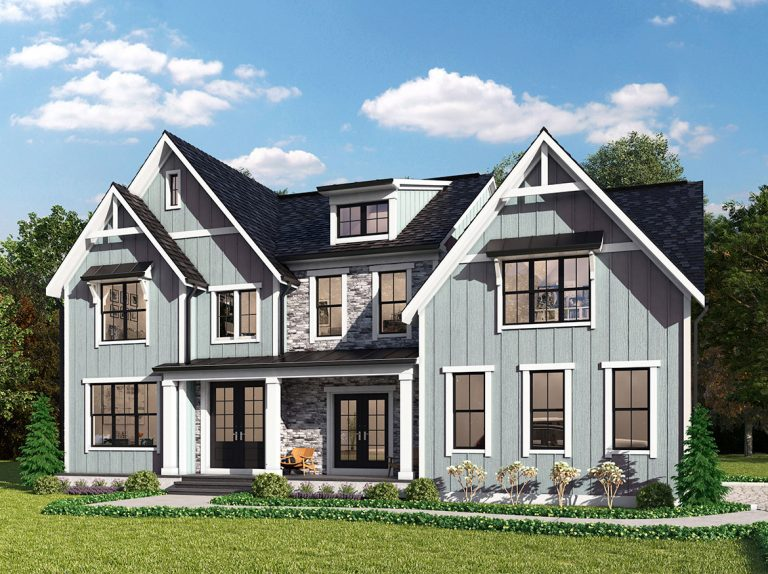 A modern farmhouse style elevation for the Monticello model home in grey board and baten, stone, with front porch, double reverse gable