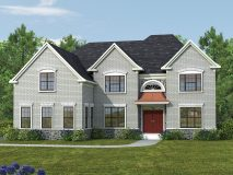 The standard brick elevation for the Potomac model with side load garage and portico, shown with optional color windows