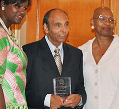 From left to right: Alpha Kappa Alpha International Vice-President Ms. Dorothy Buckhanan Wilson, Classic Homes President Prem Puri, Xi Sigma Omega President Dr. Roberta Haines