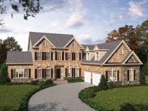 An alternate stone and brick elevation for the Summerset model home