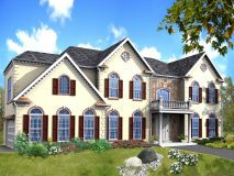 An optional stucco and stone elevation of the Winterberry model home