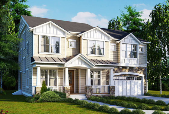 Standard elevation for the Marlyn craftsman style model home.