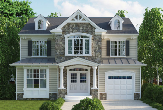 Optional stone and siding elevation for the Chatham model home with one-car garage.