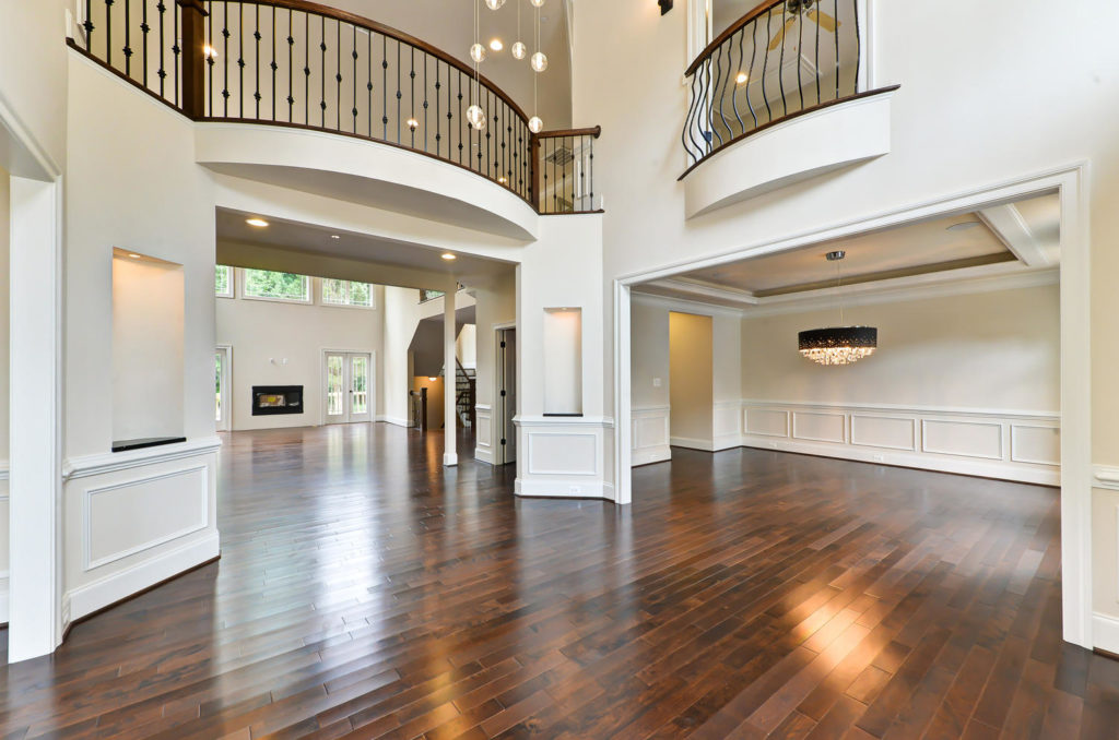 two-story foyer into dining room and family room
