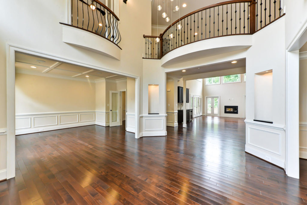 two-story foyer into living room and family room