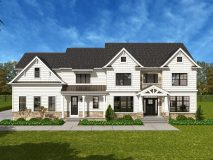 The standard craftsman style elevation for the Rosslyn model home in white hardie shingle and plank, shown with optional color windows