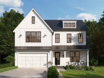 An optional elevation for the modern farmhouse style Willow model with white siding and colored windows