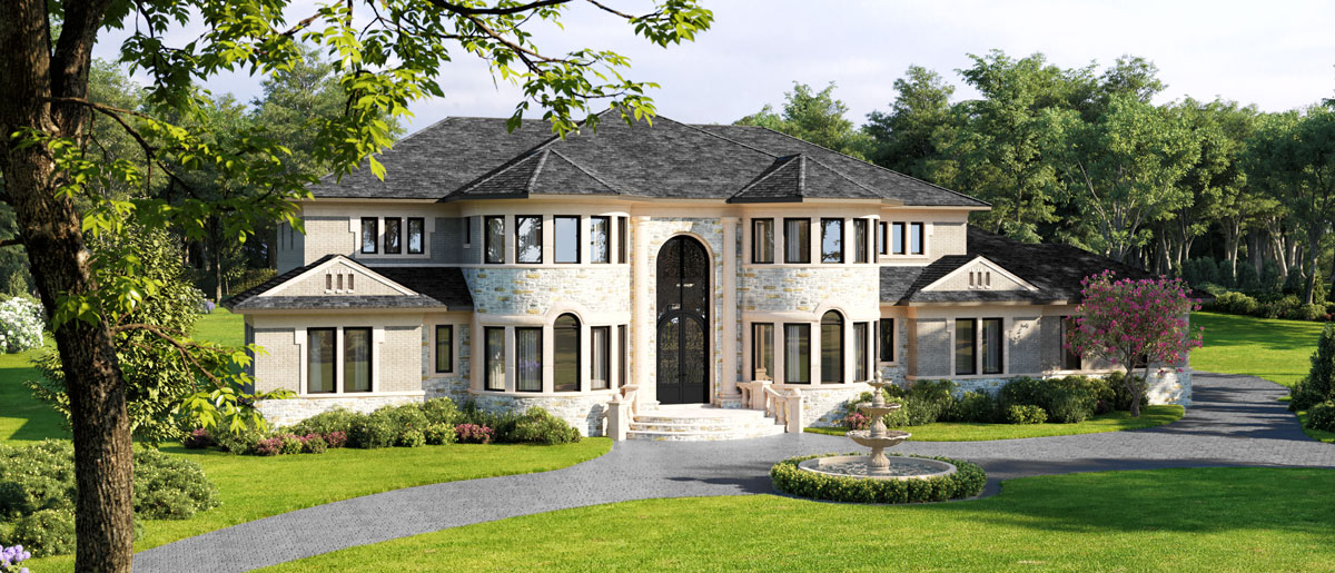 Custom home exterior rendering with stone turrets and columns