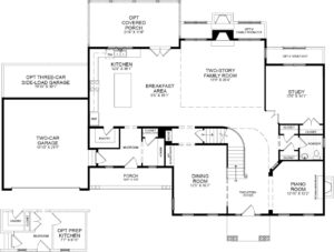 First floor plan for the Avenel model home.