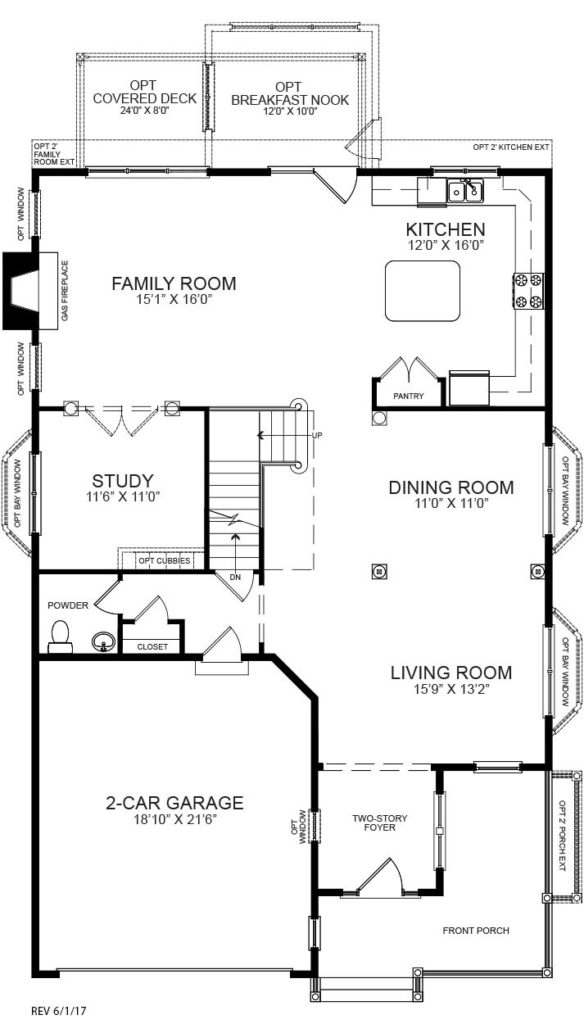 First floor plan for the Charlotte model home.