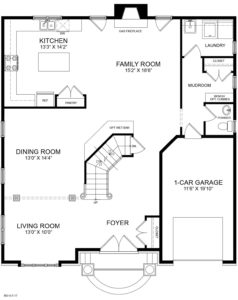 The first floor plan for the Chatham model home.