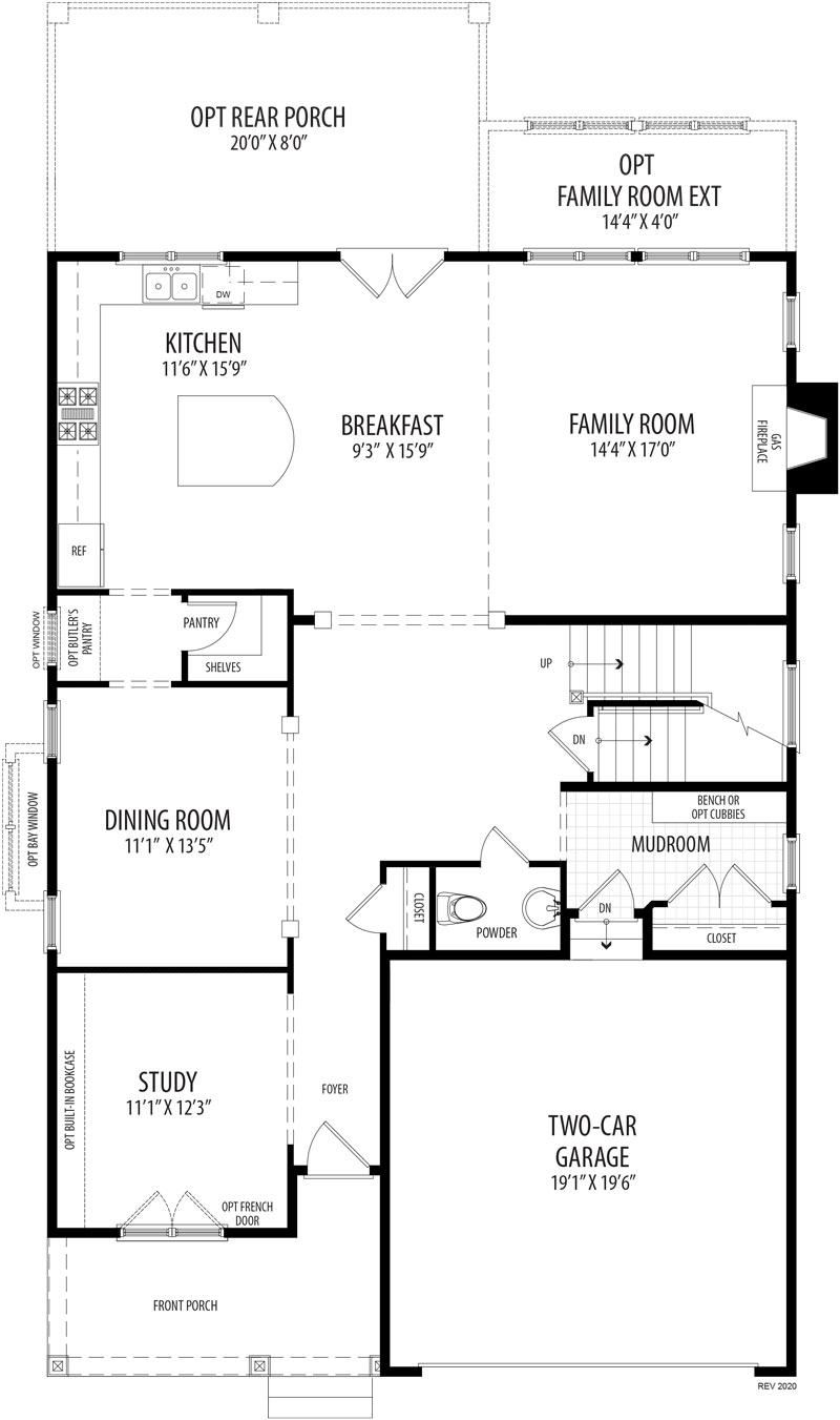 The first floor plan for the City Lilystone model home.