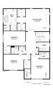The second floor plan for the City Lilystone model home.