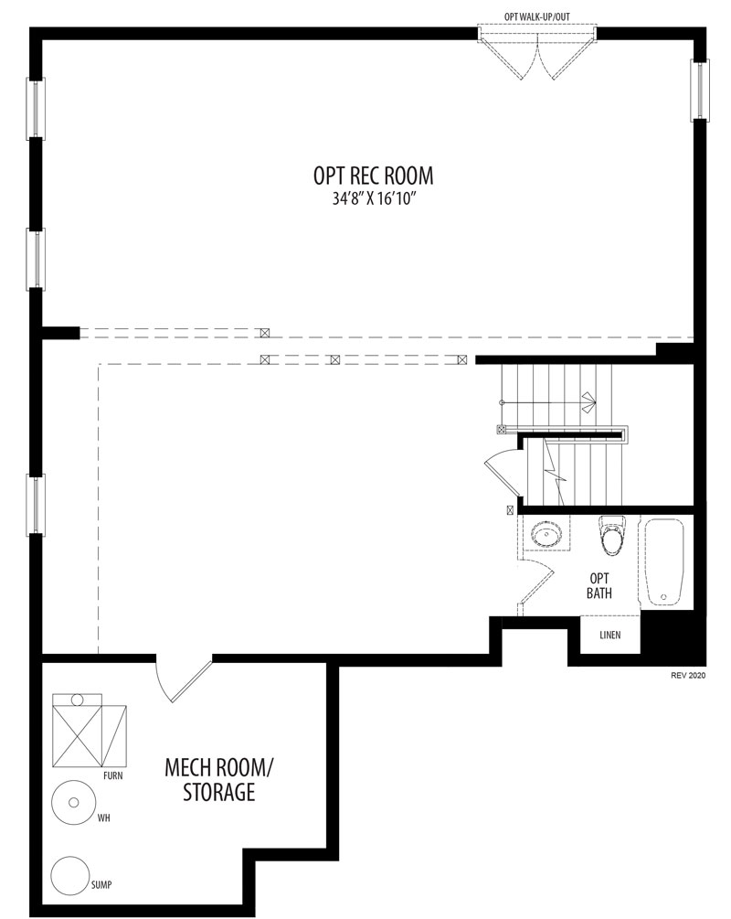An optional finished Basement plan for the City Lilystone model home.