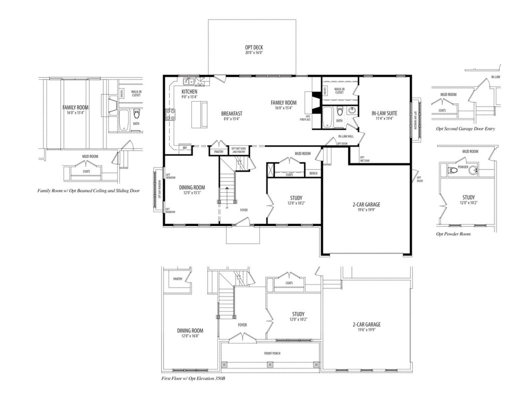 First floor plan for the Clifton model home, includes an In-Law Suite with full Bath.