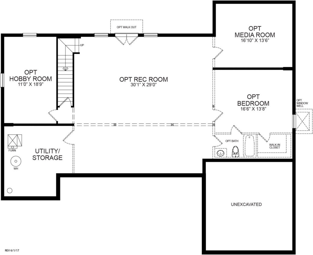 An optional finished basement plan for the Danville model home.