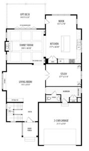 First floor plan for the Darcy model home.