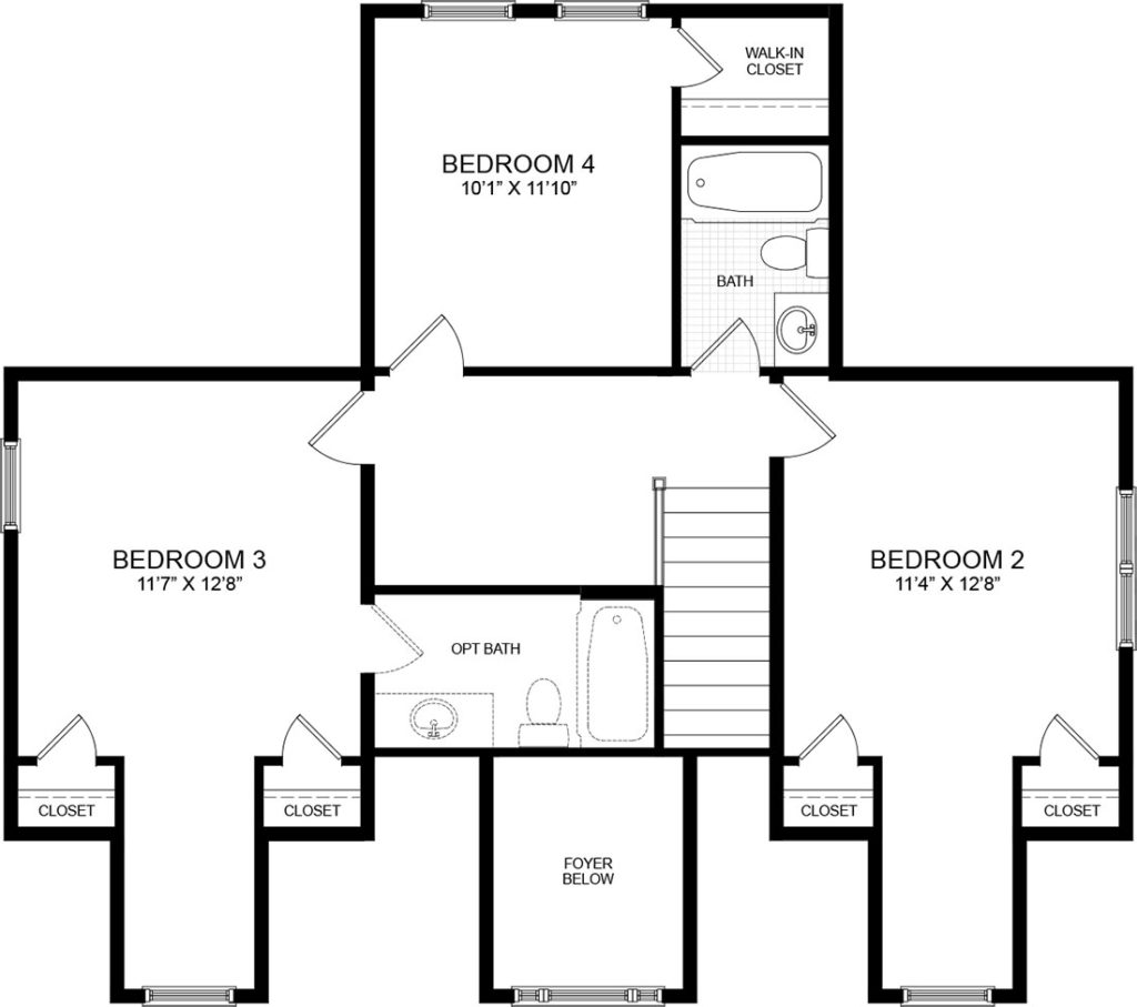 Second floor plan for the Grayson model home.