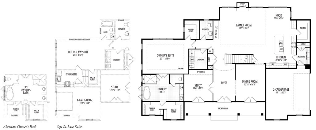 The first floor plan for the Kensington model home, showing two multigenerational partials, a 1st floor In Law Suite and alternate Owners Bath