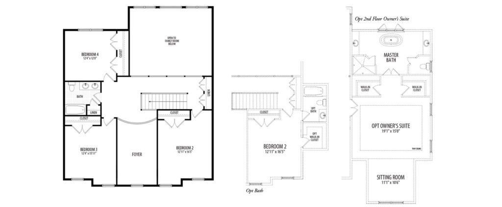 The second floor plan for the Kensington model home, showing multigenerational partials of an optional 2nd floor Owners Suite and addtional Bathroom in Bedroom 2