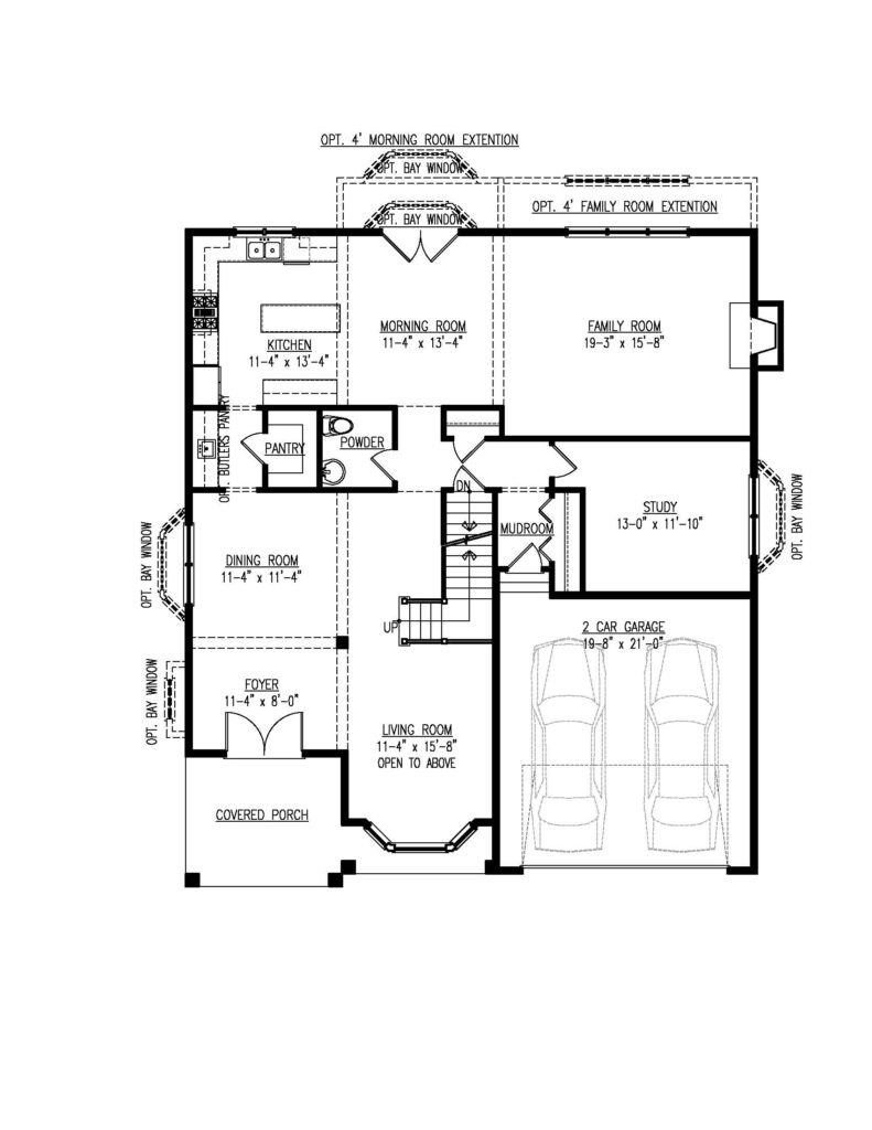 First floor plan for the Mayberry model home.