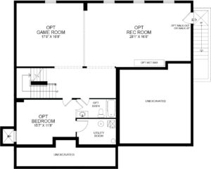 Optional finished Basement plan for the Marlyn model home.