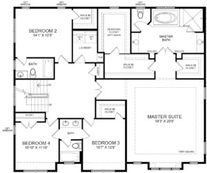 Second floor plan for the Marlyn model home.