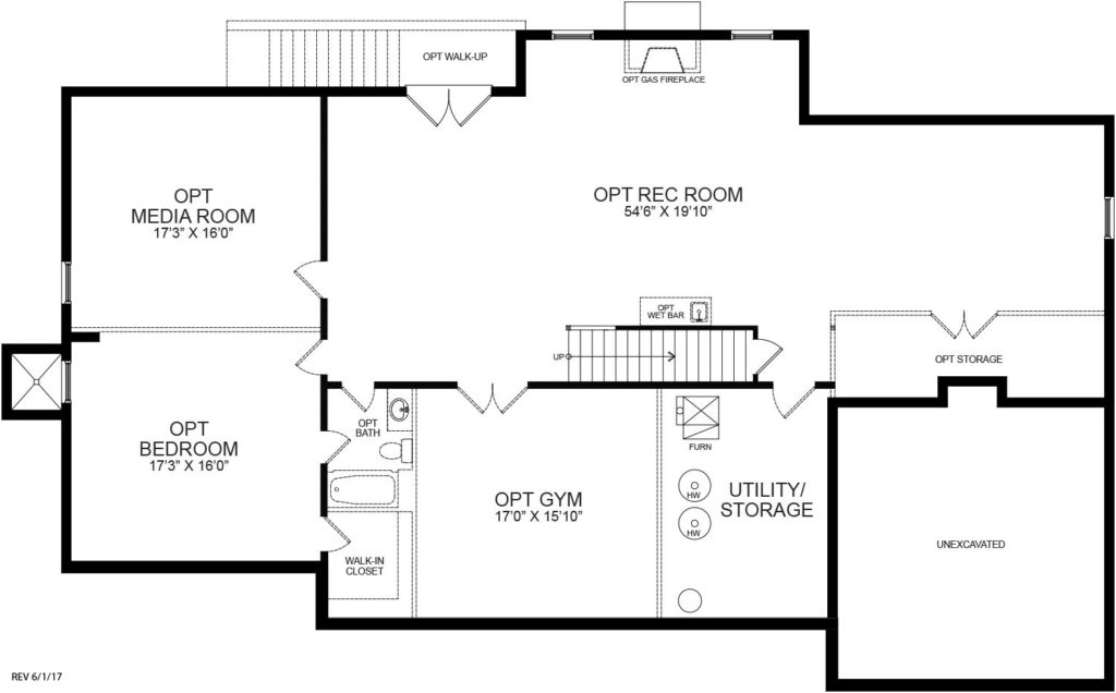 Optional finished Basement plan for the McLean model.