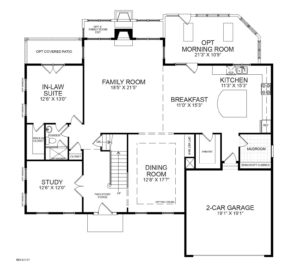 First floor plan for the Monticello model home.