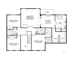 Second floor plan for the Monticello model home.