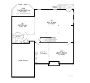 Optional finished basement plan for the Potomac model home.